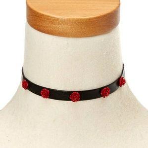 Leather Rose Studded Choker